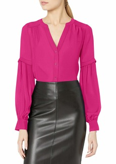 Parker Women's Long Sleeve Blouse with Gathers and Functional Buttons razzleberry M