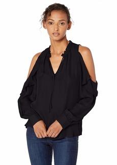 Parker Women's Marjorie Long Sleeve Cold Shoulder Ruffle Blouse  XS