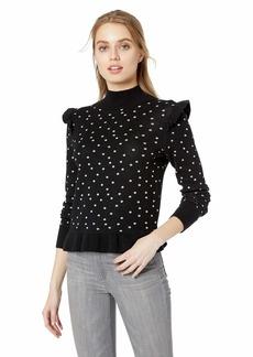 Parker Women's Marlee Long Sleeve Mock Turtleneck Ruffle Sweater  XL