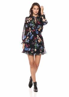 Parker Women's Paisley Long Sleeve Smocked Short Dress  S