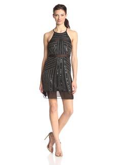 Parker Women's Taha Beaded Halter Dress with Sheer Hem
