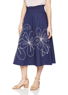 Parker Women's Wen Mid Length Elastic Waist Embroidered Skirt  M