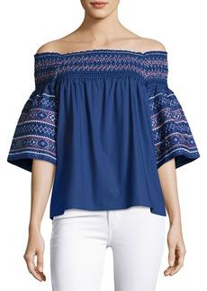 Parker Yasmin Off-the-Shoulder Cotton Blouse