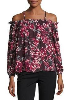 Parker Zola Cold-Shoulder Floral-Print Silk Blouse