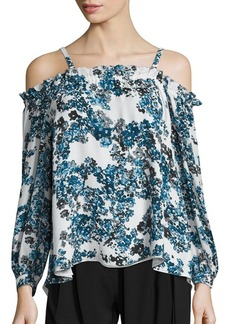 Parker Zola Floral Print Cold-Shoulder Blouse