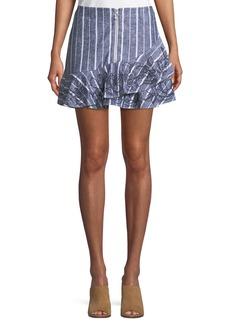Parker Zoro Striped Linen Mini Skirt