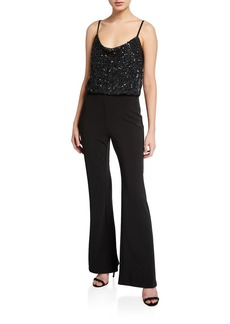 Parker Perth Beaded-Bodice Sleeveless Stretch Crepe Flare-Leg Jumpsuit