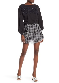 Parker Plaid Faux Wrap Mini Skirt