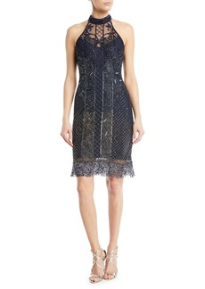 Parker Polly Beaded Halter Cocktail Dress w/ Fringe