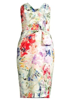 Parker Posey Floral Satin Strapless Dress