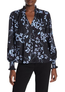Parker Printed Smocked Cuff Button Front Blouse