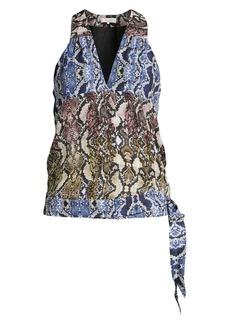 Parker Python Print Sleeveless Silk Blouse