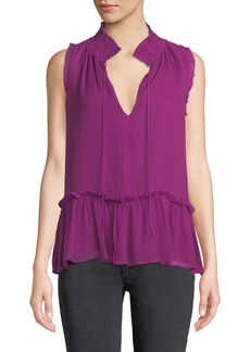 Parker Ray Tie-Neck Silk Ruffle Blouse
