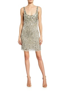 Parker Reena Beaded Fringe Sleeveless Mini Dress