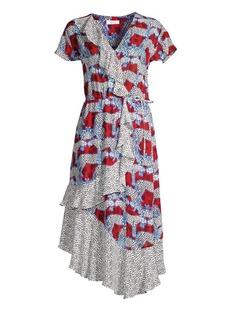 Parker Reina Mixed Print Wrap-Front Midi Dress