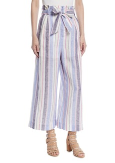 Parker Robbie Belted Striped Linen Pants