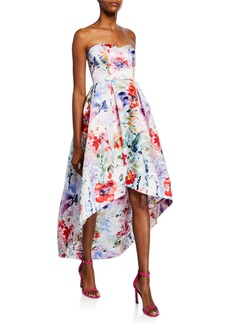 Parker Roxanne Floral Strapless Sweetheart High-low Bustier Satin Gown