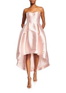Parker Roxanne Strapless High-Low Bustier Satin Dress