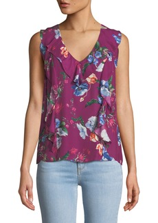 Parker Roxy Floral-Print Sleeveless Ruffle Top