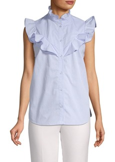 Parker Ruffled Striped Cotton Top