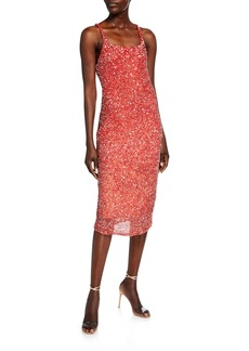 Parker Sage Beaded Ombre Cluster Midi Slip Dress