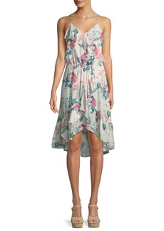 Parker Saylor Floral-Print Silk Wrap Dress