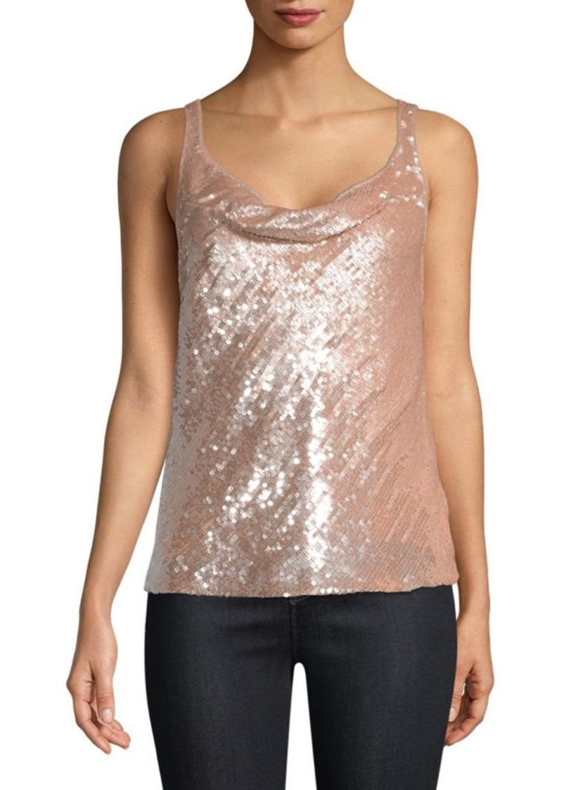 Parker Sequined Cowlneck Tank Top