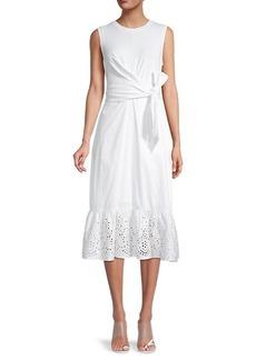 Parker Sol Wrap-Belt Eyelet Dress