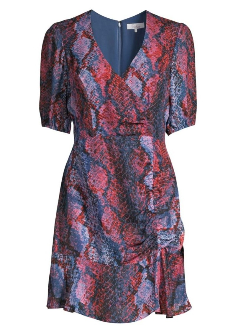 Parker Soliana Snakeskin Print Ruched Dress