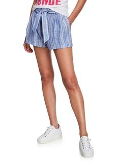 Parker Stella Striped Belted Linen Shorts
