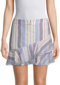 Parker Striped Ruffle Linen Skirt