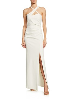 Parker Tampa Side-Ruched Stretch-Crepe Halter Gown w/ Beaded Detail