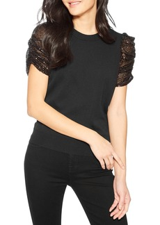Parker Tash Knit Top with Sequined Sleeves