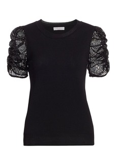 Parker Tash Sequin Puff-Sleeve Top