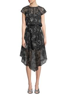 Parker Tegan Floral Textured Ruffle Midi Dress