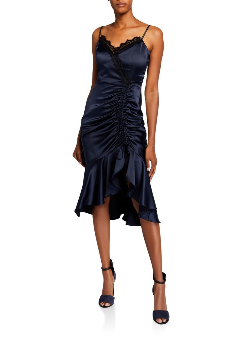 Parker Tianna Ruched Sleeveless Charmeuse Midi Dress with Lace Detail