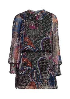 Parker Toledo Floral & Paisley Silk Blouson Dress