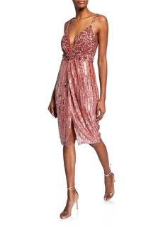 Parker Umi Beaded V-Neck Twist-Front Cocktail Dress