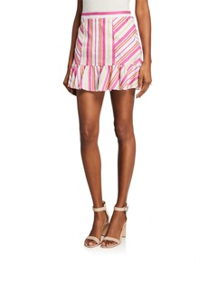 Parker Vanessa Striped Mini Ruffle Skirt