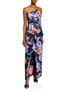 Parker Whitney Floral Satin Bustier Column Gown