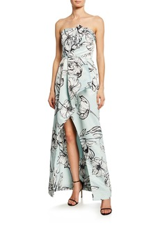 Parker Whitney Floral Satin Strapless Arched Gown