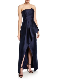 Parker Whitney Strapless Satin Twill Gown with High Slit