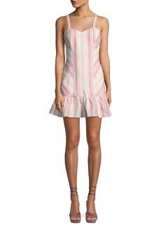 Parker Yuna Sweetheart Striped Linen Mini Dress