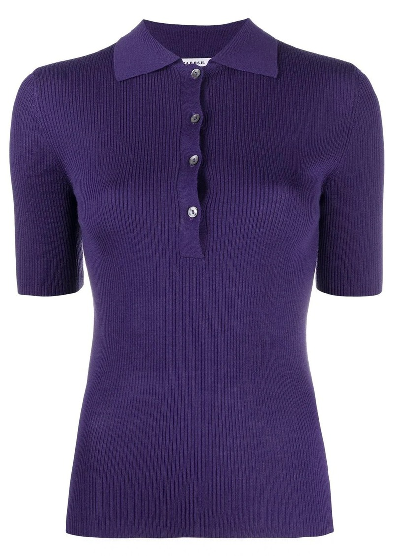 ribbed knit polo top