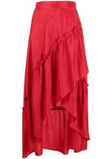 P.A.R.O.S.H. ruched high-waist silk skirt
