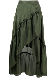 P.A.R.O.S.H. ruched layered silk skirt