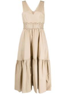 P.A.R.O.S.H. V-neck embroidered midi dress