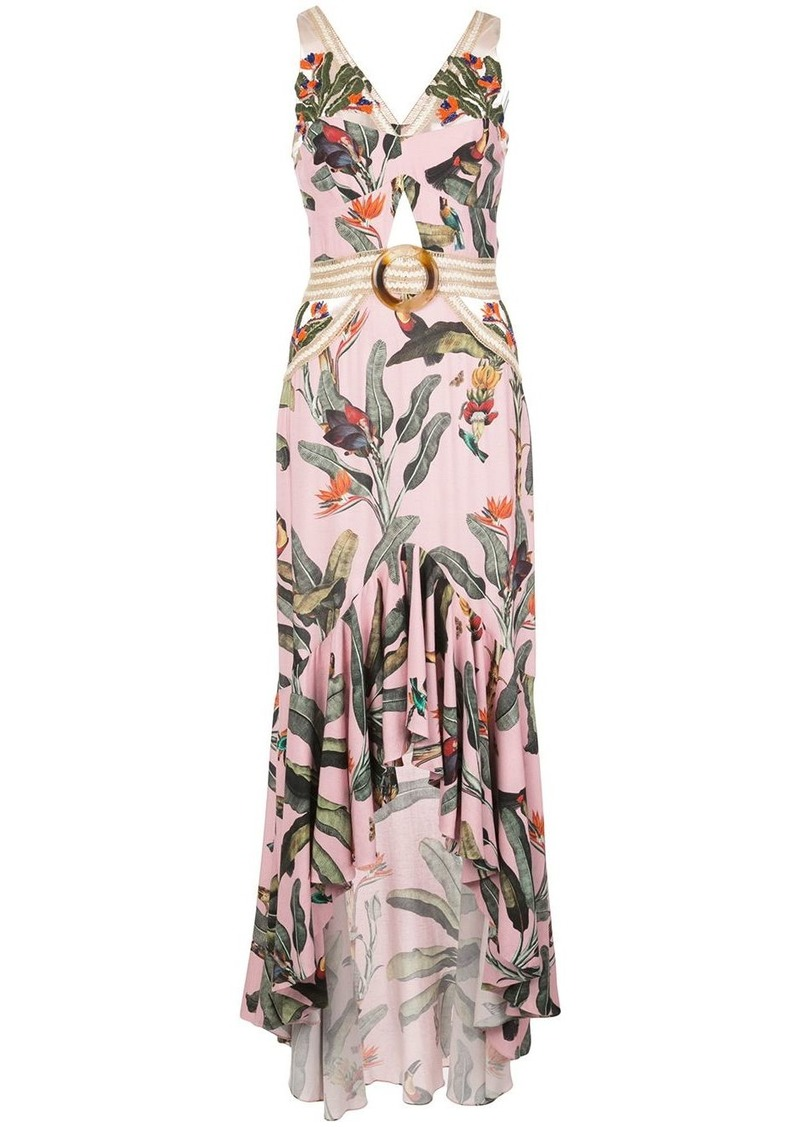 PatBO beaded tropical midi dress