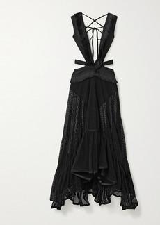 PatBO Cutout Fringed Stretch-cotton And Mesh Maxi Dress