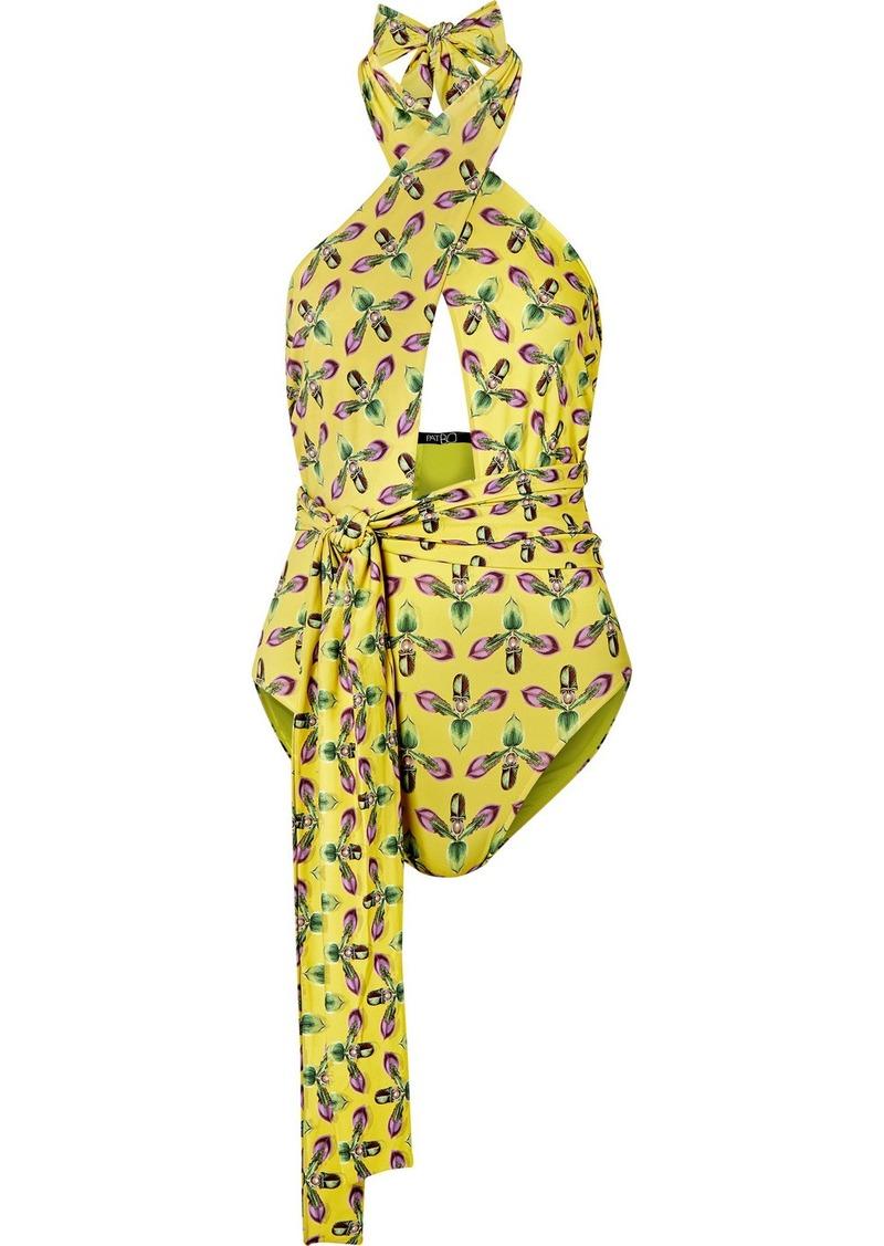 PatBO Cutout Printed Halterneck Swimsuit